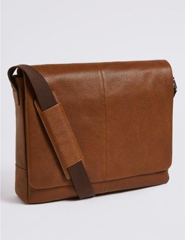 Marks & Spencer Leather Rambler Messenger Bag Tan
