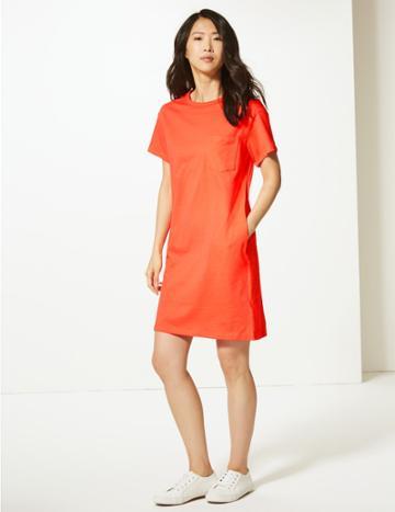 Marks & Spencer Pure Cotton Patch Pocket T-shirt Dress Mango