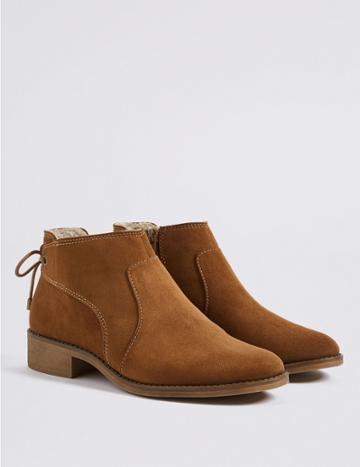 Marks & Spencer Block Heel Tie Back Ankle Boots Tan