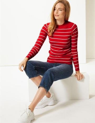 Marks & Spencer Striped Round Neck Jumper Red Mix