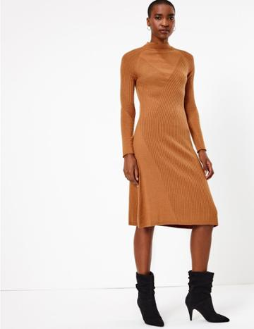 Marks & Spencer Merino Wool Rich Ribbed Shift Dress