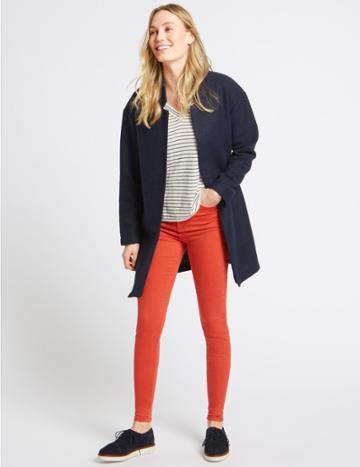 Marks & Spencer Mid Rise Skinny Leg Jeans Poppy