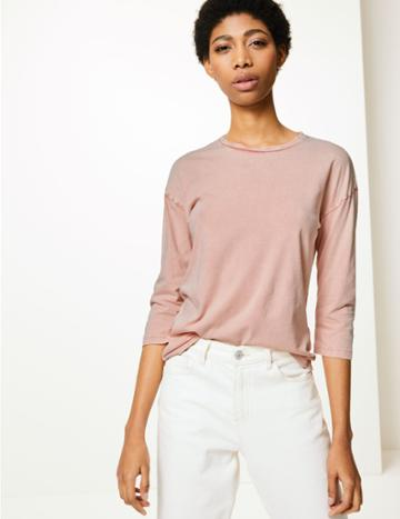 Marks & Spencer Pure Cotton 3/4 Sleeve T-shirt Blush