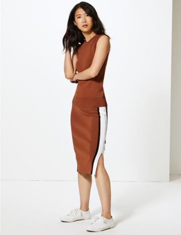 Marks & Spencer Knitted Midi Skirt Tan