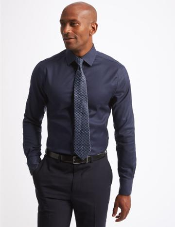 Marks & Spencer Pure Cotton Twill Slim Fit Shirt Navy