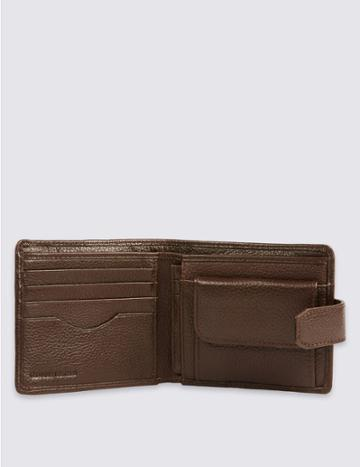 Marks & Spencer Leather Classic Bi Fold Coin Wallet With Cardsafe™ Brown