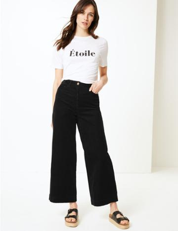 Marks & Spencer Pure Cotton Wide Leg Ankle Grazer Trousers Black