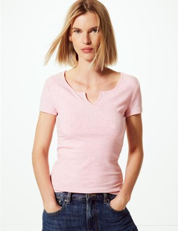 Marks & Spencer Textured Regular Fit T-shirt Blush