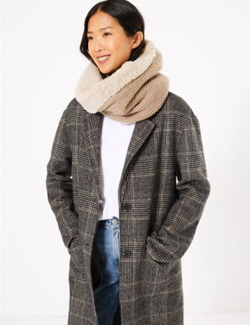 Marks & Spencer Faux Fur & Knit Snood Oatmeal