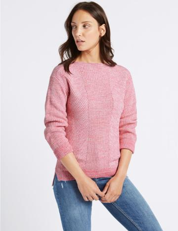Marks & Spencer Pure Cotton Cable Knit Slash Neck Jumper Bright Pink