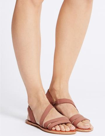 Marks & Spencer Leather Asymmetric Sandals Blush