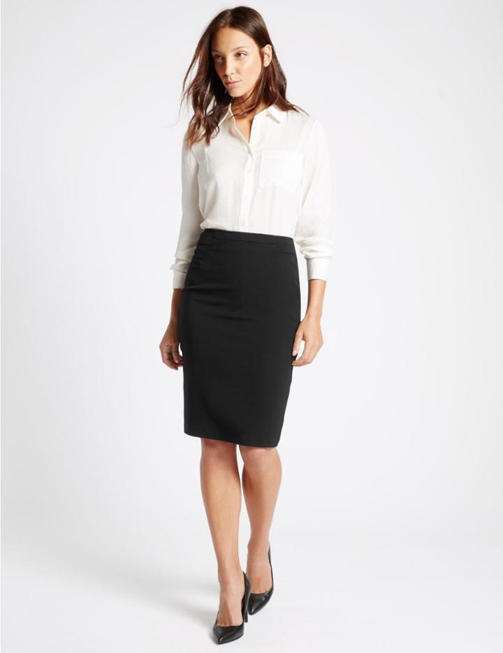 Marks & Spencer Split Back Pencil Skirt Black