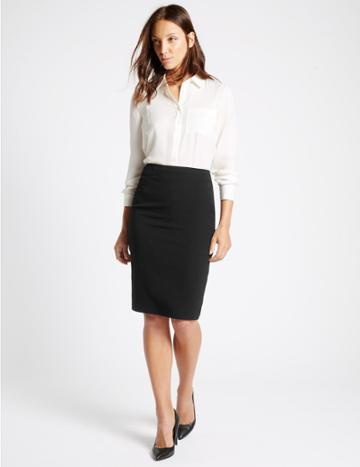 Marks & Spencer Split Back Pencil Skirt Black