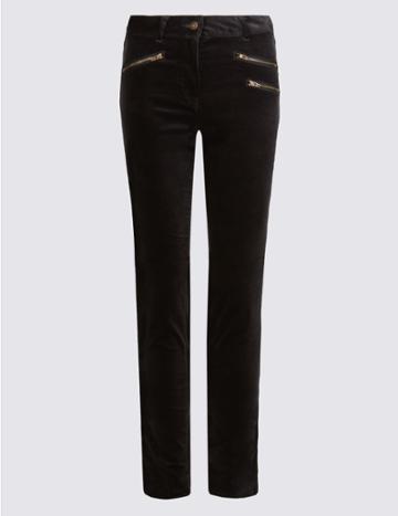 Marks & Spencer Modal Blend Corduroy Skinny Leg Trousers Black