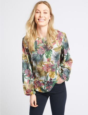 Marks & Spencer Floral Print Round Neck Long Sleeve T-shirt Green Mix