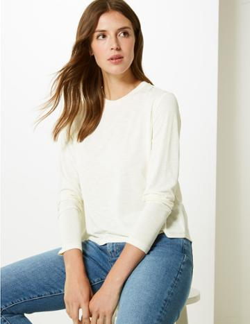 Marks & Spencer Super Soft Round Neck Long Sleeve T-shirt Cream