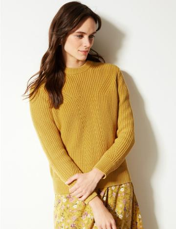 Marks & Spencer Pure Cotton Textured Jumper Honey