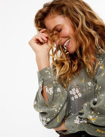 Marks & Spencer Floral Print Shirt Khaki Mix