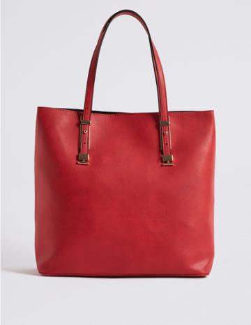 Marks & Spencer Faux Leather Carry All Shopper Bag Red