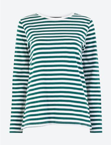 Marks & Spencer Pure Cotton Striped Straight Fit T-shirt Green Mix