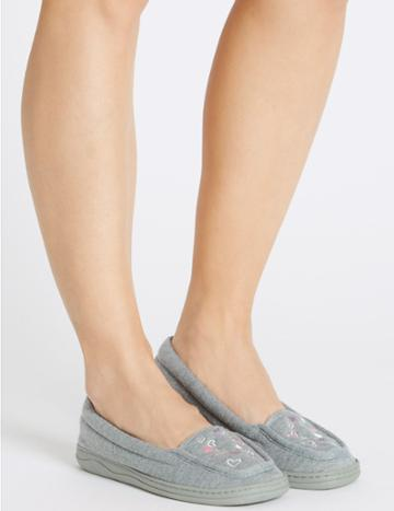Marks & Spencer Heart Embroidered Moccasin Slippers Grey Mix