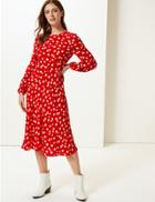 Marks & Spencer Floral Print Midi Dress Red Mix