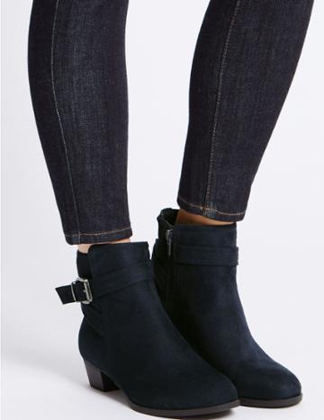 Marks & Spencer Block Heel Strap Ankle Boots Navy