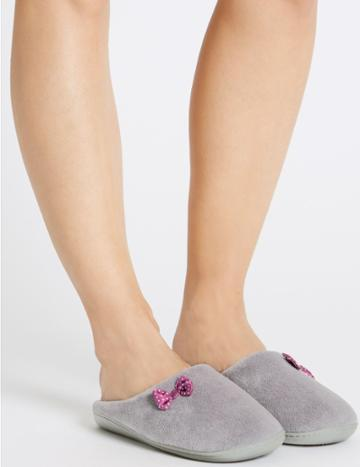 Marks & Spencer Spotted Bow Mule Slippers Dark Grey