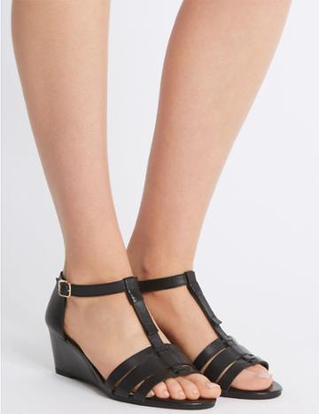 Marks & Spencer Wide Fit Leather Wedge Sandals Black