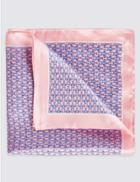 Marks & Spencer Pure Silk Printed Pocket Square Pink Mix