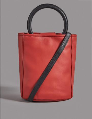 Marks & Spencer Leather Bucket Cross Body Bag Flame