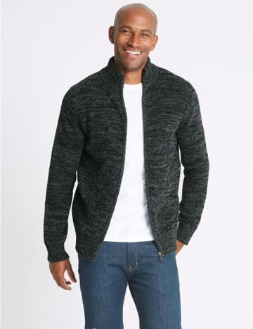 Marks & Spencer Textured Zipped Through Cardigan Grey Mix