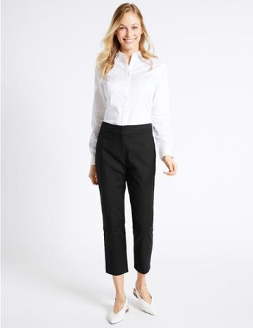Marks & Spencer Cotton Rich Slim Leg Cropped Trousers Black
