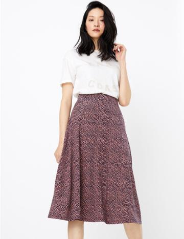 Marks & Spencer Jersey Spot Print Midi Skirt Navy Mix