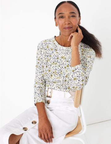 Marks & Spencer Pure Cotton Raglan Print Regular Fit T-shirt Cream Mix