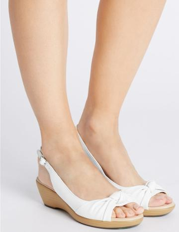 Marks & Spencer Leather Wedge Knot Sling Back Sandals White