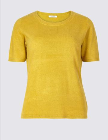 Marks & Spencer Round Neck Short Sleeve Jumper Winter Lime