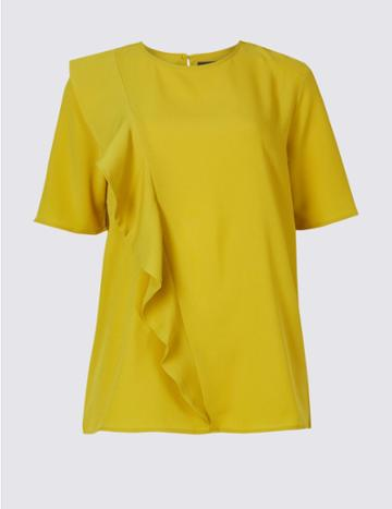 Marks & Spencer Ruffle Front Short Sleeve Shell Top Lime
