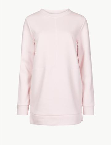 Marks & Spencer Cotton Rich Longline Long Sleeve Sweatshirt Blush