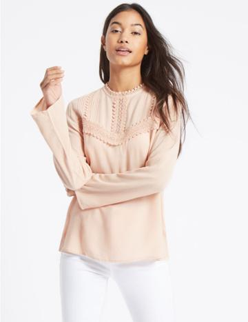 Marks & Spencer Lace Pintuck Round Neck Long Sleeve Blouse Blush
