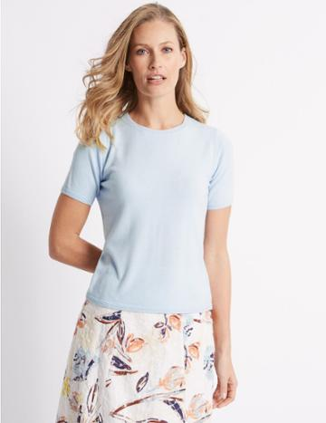 Marks & Spencer Round Neck Short Sleeve Jumper Ice Blue