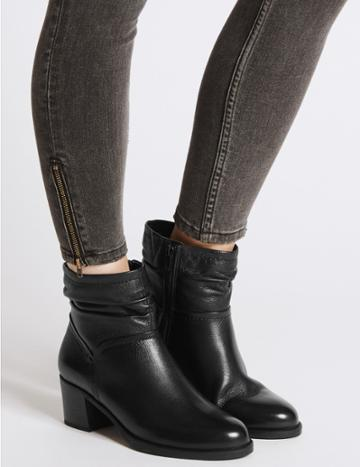 Marks & Spencer Wide Fit Leather Ruched Ankle Boots Black