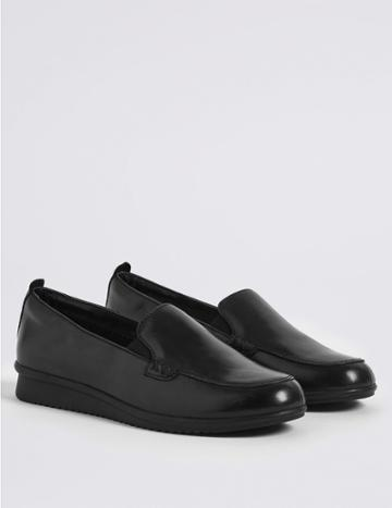 Marks & Spencer Leather Wedge Heel Stitch Detail Loafers Black