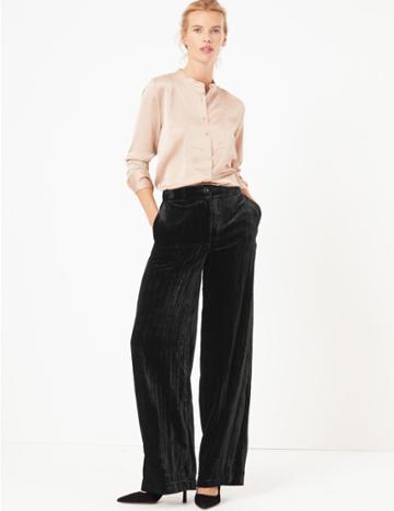 Marks & Spencer Velvet Wide Leg Trousers