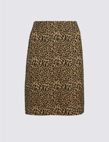 Marks & Spencer Animal Print A-line Mini Skirt Black Mix