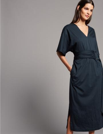 Marks & Spencer Pure Cotton Jersey Midi Dress Navy