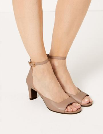 Marks & Spencer Leather Ankle Strap Sandals Blush