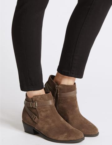 Marks & Spencer Wide Fit Suede Block Heel Ankle Boots Mink