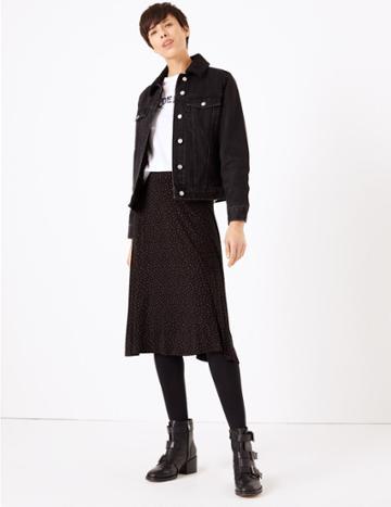 Marks & Spencer Polka Dot Jersey Slip Midi Skirt