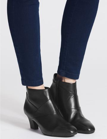 Marks & Spencer Leather Square Toe Ankle Boots Black